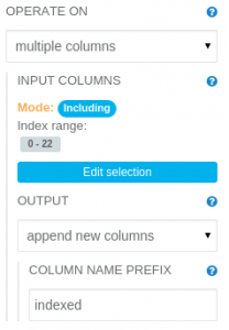 String Indexer operation parameters panel