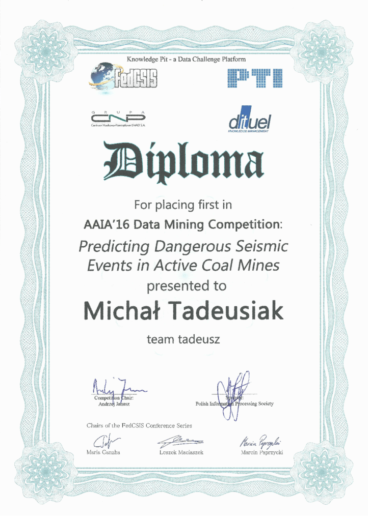 AAIA16 Data Mining Challenge Seismic Events Diploma
