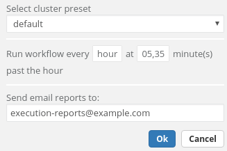 "Form for selecting scheduling options: ""Select cluster preset: default Run workflow every hour at 05,35 minute(s) past the hour Send email reports to: execution-reports@example.com"""